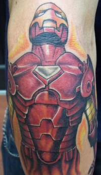 Red, strong, severe, iron man forearm tattoo