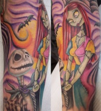 Colourful, bright jack and sally forearm tattoo